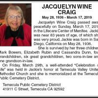 Jacquelyn Wine Craig's Online Memorial Photo